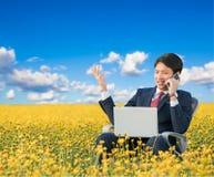 Επιχειρηματίας που χρησιμοποιεί το smartphone και το lap-top στον τομέα λουλουδιών Στοκ Εικόνα