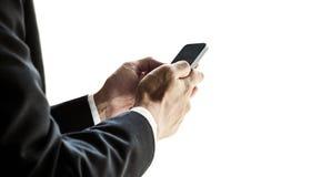 Επιχειρηματίας που χρησιμοποιεί το smartphone, που απομονώνεται στο άσπρο υπόβαθρο Στοκ εικόνες με δικαίωμα ελεύθερης χρήσης