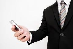 Επιχειρηματίας που χρησιμοποιεί το smartphone, στο άσπρο υπόβαθρο Στοκ φωτογραφίες με δικαίωμα ελεύθερης χρήσης