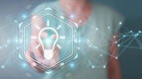 Επιχειρηματίας που χρησιμοποιεί lightbulb την τρισδιάστατη απόδοση διεπαφών ιδέας Στοκ Εικόνες