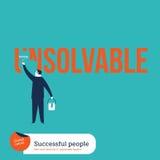 Επιχειρηματίας που χρωματίζει τη λέξη αδιάλυτη Στοκ εικόνα με δικαίωμα ελεύθερης χρήσης