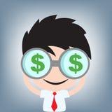 Επιχειρηματίας που ψάχνει τα χρήματα δολαρίων με τη διοφθαλμική, διανυσματική απεικόνιση στο επίπεδο σχέδιο Στοκ φωτογραφία με δικαίωμα ελεύθερης χρήσης
