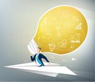 Επιχειρηματίας στα αεροπλάνα εγγράφων με την ιδέα απεικόνιση αποθεμάτων