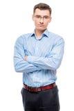 Επιχειρηματίας στα γυαλιά νέα και πολύ επιτυχή, σε ένα λευκό Στοκ Φωτογραφίες