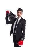 Επιχειρηματίας στα εγκιβωτίζοντας γάντια, επιχειρησιακός μαχητής Στοκ εικόνα με δικαίωμα ελεύθερης χρήσης