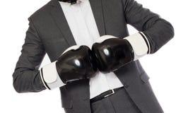 Επιχειρηματίας στα εγκιβωτίζοντας γάντια Στοκ Εικόνες