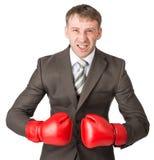 0 επιχειρηματίας στα εγκιβωτίζοντας γάντια Στοκ Φωτογραφία
