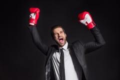 Επιχειρηματίας στα εγκιβωτίζοντας γάντια Στοκ φωτογραφία με δικαίωμα ελεύθερης χρήσης