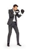 Επιχειρηματίας στα εγκιβωτίζοντας γάντια στοκ εικόνα