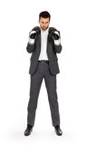 Επιχειρηματίας στα εγκιβωτίζοντας γάντια στοκ εικόνες με δικαίωμα ελεύθερης χρήσης