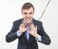 0 επιχειρηματίας στην αλυσίδα με ένα περιλαίμιο Στοκ φωτογραφία με δικαίωμα ελεύθερης χρήσης
