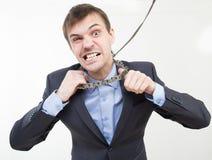 0 επιχειρηματίας στην αλυσίδα με ένα περιλαίμιο Στοκ Εικόνα