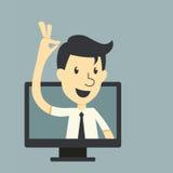 Επιχειρηματίας στην οθόνη οργάνων ελέγχου διανυσματική απεικόνιση