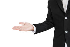 Επιχειρηματίας στην παρουσίαση της θέσης, που απομονώνεται στο άσπρο υπόβαθρο Στοκ Εικόνες