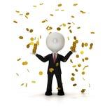 Επιχειρηματίας στη βροχή του χρυσού νομίσματος, πορεία ψαλιδίσματος συμπεριλαμβανόμενη Στοκ Φωτογραφίες