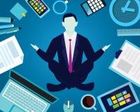 Επιχειρηματίας στη θέση γιόγκας Η ηρεμία χαλαρώνει στην επιχείρηση απεικόνιση αποθεμάτων
