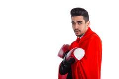 Επιχειρηματίας στον επενδύτη superhero και τα εγκιβωτίζοντας γάντια Στοκ Εικόνες