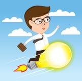 Επιχειρηματίας στον πύραυλο λαμπών φωτός που πετά στην επιτυχία, διάνυσμα επιχειρησιακής έννοιας Στοκ Εικόνες