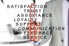 Επιχειρηματίας στο γκρίζο κοστούμι που σύρει τον κόκκινο κύκλο γύρω από τον πελάτη Στοκ φωτογραφίες με δικαίωμα ελεύθερης χρήσης