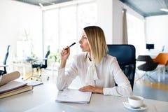 Επιχειρηματίας στο γραφείο με το σημειωματάριο στο γραφείο της Στοκ Εικόνα