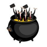 Επιχειρηματίας στο καταχθόνιο καζάνι Ο προϊστάμενος είναι στην κόλαση Καυτό πετρέλαιο στο boi απεικόνιση αποθεμάτων