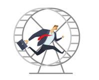 Επιχειρηματίας στο κοστούμι γραφείων που τρέχει σε μια ρόδα όπως έναν σκίουρο Να τρέξει σε ισχύ βιασύνη επάνω Φυλή για την επιτυχ διανυσματική απεικόνιση