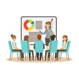 Επιχειρηματίας στο κοστούμι που παρουσιάζει και που εξηγεί το διάγραμμα σε ένα whiteboard, επιχειρησιακή συνεδρίαση σε ένα διάνυσ Στοκ Εικόνα