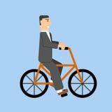 Επιχειρηματίας στο ποδήλατο τρόπος ζωής eco μεταφορά ελεύθερη απεικόνιση δικαιώματος