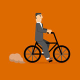 Επιχειρηματίας στο ποδήλατο τρόπος ζωής eco μεταφορά Στοκ εικόνα με δικαίωμα ελεύθερης χρήσης