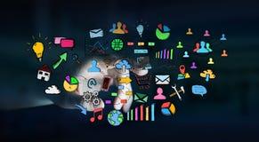 Επιχειρηματίας σχετικά με συρμένα τα χέρι εικονίδια Ιστού Στοκ Εικόνα
