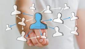Επιχειρηματίας σχετικά με συρμένο το χέρι κοινωνικό δίκτυο Στοκ Φωτογραφία
