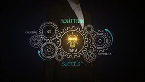 Επιχειρηματίας σχετικά με τα εργαλεία, που σύρουν την επιτυχία, έννοια λύσης με τη ρόδα εργαλείων στον πίνακα κιμωλίας, δημιουργι απεικόνιση αποθεμάτων