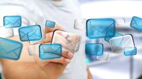 Επιχειρηματίας σχετικά με τα ψηφιακά εικονίδια '3D ηλεκτρονικού ταχυδρομείου rendering' Στοκ εικόνες με δικαίωμα ελεύθερης χρήσης