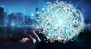 Επιχειρηματίας σχετικά με την τρισδιάστατη σφαίρα δικτύων δεδομένων απόδοσης με το φ του Στοκ εικόνες με δικαίωμα ελεύθερης χρήσης