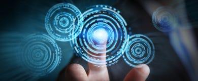 Επιχειρηματίας σχετικά με τη σύγχρονη διεπαφή τεχνολογίας κύκλων Στοκ Εικόνες