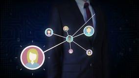 Επιχειρηματίας σχετικά με το ανθρώπινο εικονίδιο, συνδέοντας άνθρωποι, επιχειρησιακό δίκτυο κοινωνικό εικονίδιο υπηρεσιών μέσων απεικόνιση αποθεμάτων