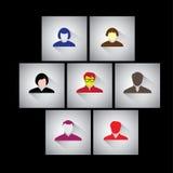 Επιχειρηματίας, υπάλληλοι & ανώτεροι υπάλληλοι - επίπεδα διανυσματικά εικονίδια σχεδίου απεικόνιση αποθεμάτων
