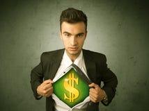 Επιχειρηματίας λυσσασμένος από το πουκάμισό του με το σημάδι δολαρίων στο στήθος Στοκ φωτογραφίες με δικαίωμα ελεύθερης χρήσης