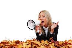 Επιχειρηματίας φθινοπώρου με megaphone Στοκ Εικόνες