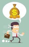 Επιχειρηματίας Blindfolded που τρέχει για να βρεί τα χρήματα Στοκ Εικόνες