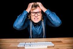 0 επιχειρηματίας hipster που κρατά τις τρίχες του Στοκ Φωτογραφία