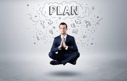 Επιχειρηματίας meditates με την έννοια doodle στοκ εικόνες