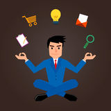 Επιχειρηματίας Meditating με το μάρκετινγκ των εικονιδίων Στοκ φωτογραφία με δικαίωμα ελεύθερης χρήσης