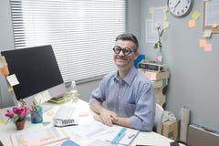 Επιχειρηματίας Nerd στην εργασία Στοκ Φωτογραφία