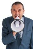 Επιχειρηματίας shoutig μέσω ενός loudhailer Στοκ Εικόνα