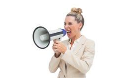 επιχειρηματίαση που χρησιμοποιεί megaphone Στοκ Φωτογραφία