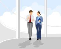 Επιχειρηματίες ζευγαριού στην αίθουσα γραφείων Ελεύθερη απεικόνιση δικαιώματος