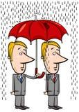 Επιχειρηματίες κάτω από τα κινούμενα σχέδια ομπρελών ελεύθερη απεικόνιση δικαιώματος