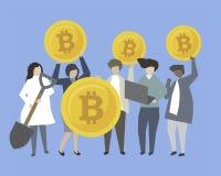 Επιχειρηματίες και τραπεζίτες με την απεικόνιση χρημάτων ελεύθερη απεικόνιση δικαιώματος
