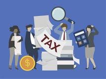 Επιχειρηματίες και τραπεζίτες με την απεικόνιση χρημάτων διανυσματική απεικόνιση